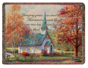 """Manual 50x60"""" Tapestry Throw - Chapel in the Woods"""