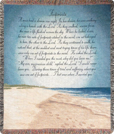 """Footprints in Sand Manual 50x60"""" Tapestry Throw"""