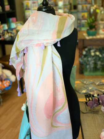 Marble Scarf with Tassels Gift Item