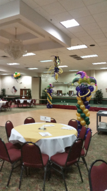 Mardi Gras Themed Party Columns, and ceiling decor