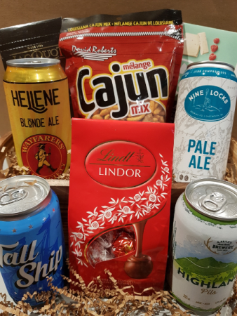 LOCAL BEER BASKET With treats and more