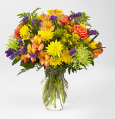 MARMALADE SKIES BOUQUET ORANGE ,YELLOW AND GREEN FLOWERS