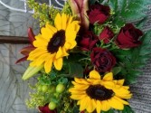 Maroon and Gold Celebration Clear Oval Vase Arrangement