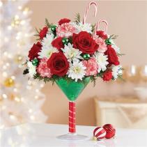 Martini Bouquet Peppermint Holiday Floral Arrangement