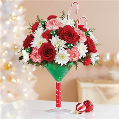 Martini Bouquet Peppermint Holiday Floral Arrangement
