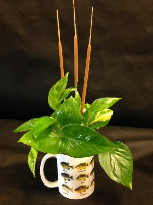 Masculine fishing coffee mug planter Masculine decor in Detroit Lakes, MN   DETROIT LAKES FLORAL