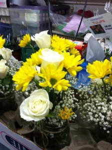 Mason Jar Centerpieces Work Room Photo!  We are a REAL Florist!