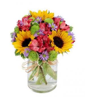 Mason Jar Country Bouquet in Jasper, TX | BOBBIE'S BOKAY FLORIST
