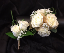 Matching Bout & Wristlet Gold  & White Prom