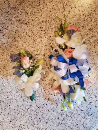 Matching boutonniere and corsage