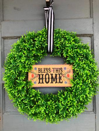 """Medium """"Bless This Home"""" wreath"""
