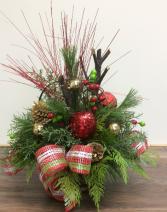 Medium Christmas Cedar Basket Outdoor arrangement