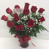 Medium Red Roses Vased Arrangement