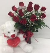 Medium Red Roses with Bear Rose Arrangement