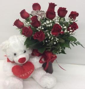 Medium Red Roses with Bear Rose Arrangement