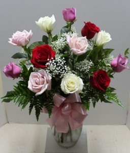 Red, Pink and White Medium Stem Rose Arrangement