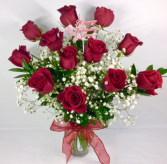 V2 Medium Stem Red Rose Arrangement