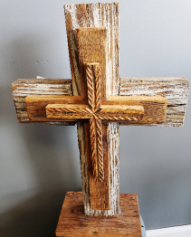 Medium Whitewash Pedestal cross  Standing Medium artisan cross