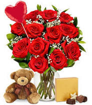 Mega love for you bear, chocolates, mylar balloon and dozen roses OPTIONS WHITE PINK RED