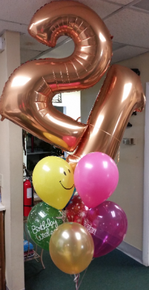 Mega Numbers Birthday Bouquet Mylar and latex balloons colors may be substituted