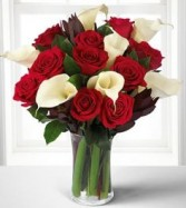 Memorable Moments Bouquet  Roses And Calla Lilies