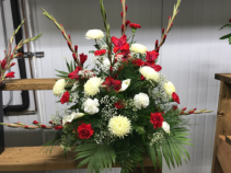 Red and White Tribute Memorial Arrangement