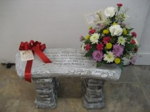 Memorial Bench with Fresh Flowers Variety of Verses