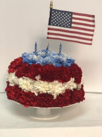 Memorial Day Calorie-Free Cake Flower Arrangement