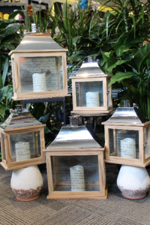 Memorial Lantern Lantern with flamless LED candle and photo frame.