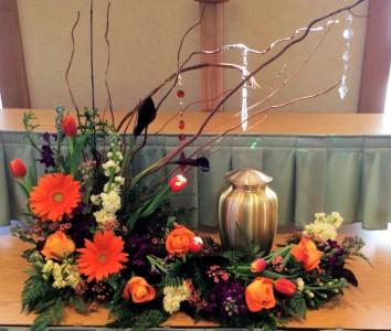 Memorial urn flower bouquet Sympathy