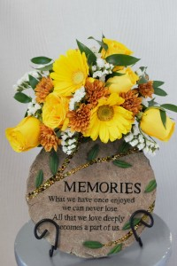 Memories Garden stone with flowers in Port Huron, MI | CHRISTOPHER'S FLOWERS