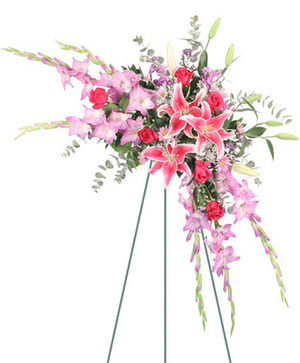 Memories in Pink Standing Spray in Talladega, AL | GAITHER'S FLORIST