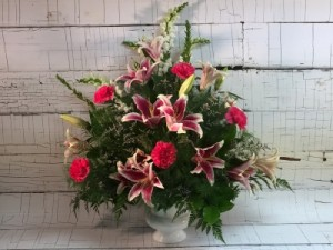 Memories in Pink Sympathy arrangement for female in Saint Louis, MO | Irene's Floral Design