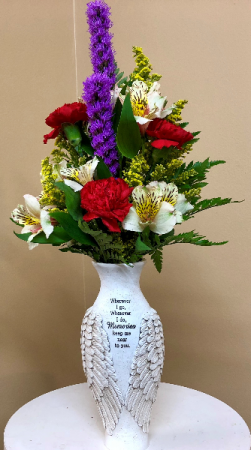 Memories Keep You Near To Me In Winged Vase Keepsake in Springfield, IL | FLOWERS BY MARY LOU INC