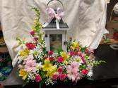 Memories Lantern with fresh flowers