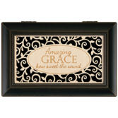 Memory-Music Box/Amazing Grace Wood Engraved Carson Memory/Music Box