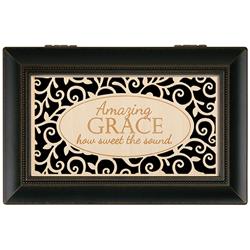 Memory-Music Box/Amazing Grace Wood Engraved Carson Memory/Music Box
