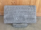 Memory of a Farmer concrete plaque & stand