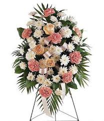 "MEMORY PINK SPRAY STANDING FUNERAL PC ON A 5'-6"" STAND"