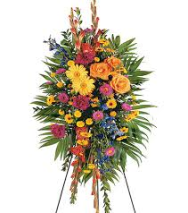 "MEMORY VIBRANT SPRAY STANDING FUNERAL PC ON A 5'-6"" STAND"