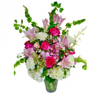 Sweet Romance Bouquet Vase arrangement in Coral Springs, FL | Hearts & Flowers of Coral Springs