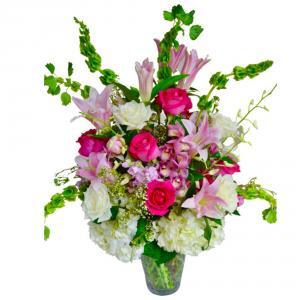 Sweet Romance Vase arrangement in Coral Springs, FL | Hearts & Flowers of Coral Springs