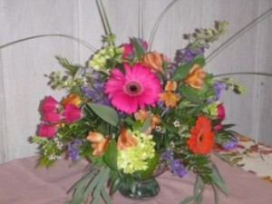 Mercury Color Burst floral centerpiece in Kensington, CT | BRIERLEY-JOHNSON THE FLORIST