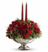 Mercury Glass Bowl Centerpiece with 2 Red Candles