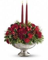 Mercury Glass Bowl Christmas Arrangment