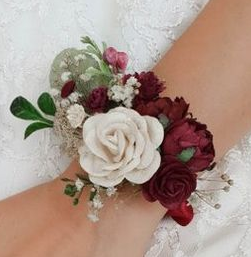 MERLOT CORSAGE ELEGANT MIXTURE OF FLOWERS