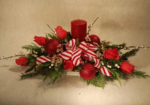 Merry and Bright evergreen centerpiece in Port Huron, MI | CHRISTOPHER'S FLOWERS