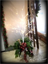 Merry and Bright  Fresh Greenery With White Tree and Lighted Branches