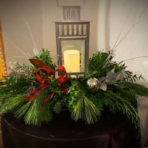 Merry and Bright  Lantern Centerpiece  in Pawtucket, RI | THE FLOWER SHOPPE