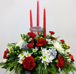 Merry & Bright Table Centerpiece in Douglasville, GA | The Flower Cottage & Gifts, LLC